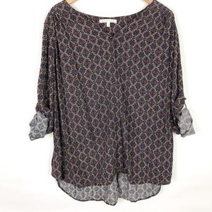 Daniel Rainn Roll Sleeve Button Front Printed Top